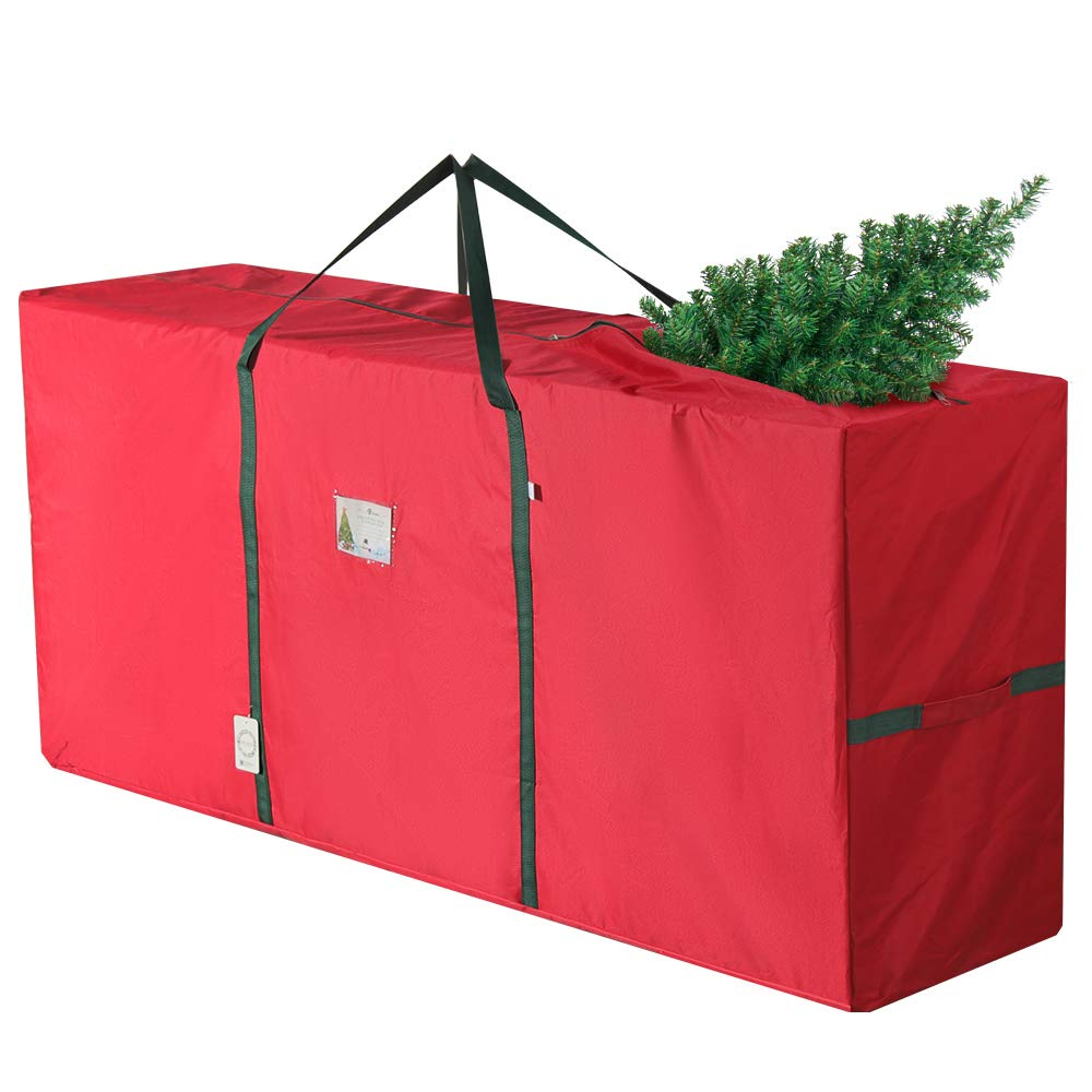"D-FantiX Large Christmas Tree Storage Bag Handles Heavy Duty Xmas Tree Storage Bags Containers 65"" x 15"" x 30"" Fits Up to 9 ft Artificial Trees Red AM-HG216"
