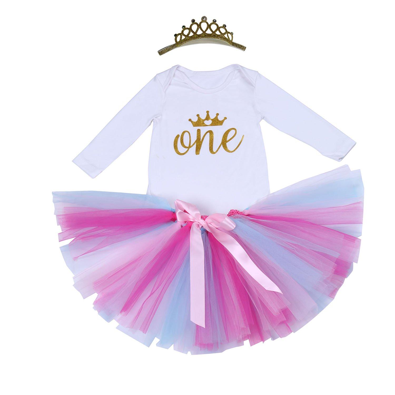 BabyPreg/® 3PCS Primero Onesie cumplea/ños de la ni/ña de vestido de tut/ú con diadema