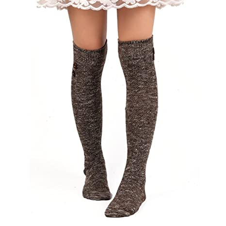 e886297c6c5 Susenstone Women Long Socks Over Knee High Sock (Coffee)  Amazon.ca   Clothing   Accessories