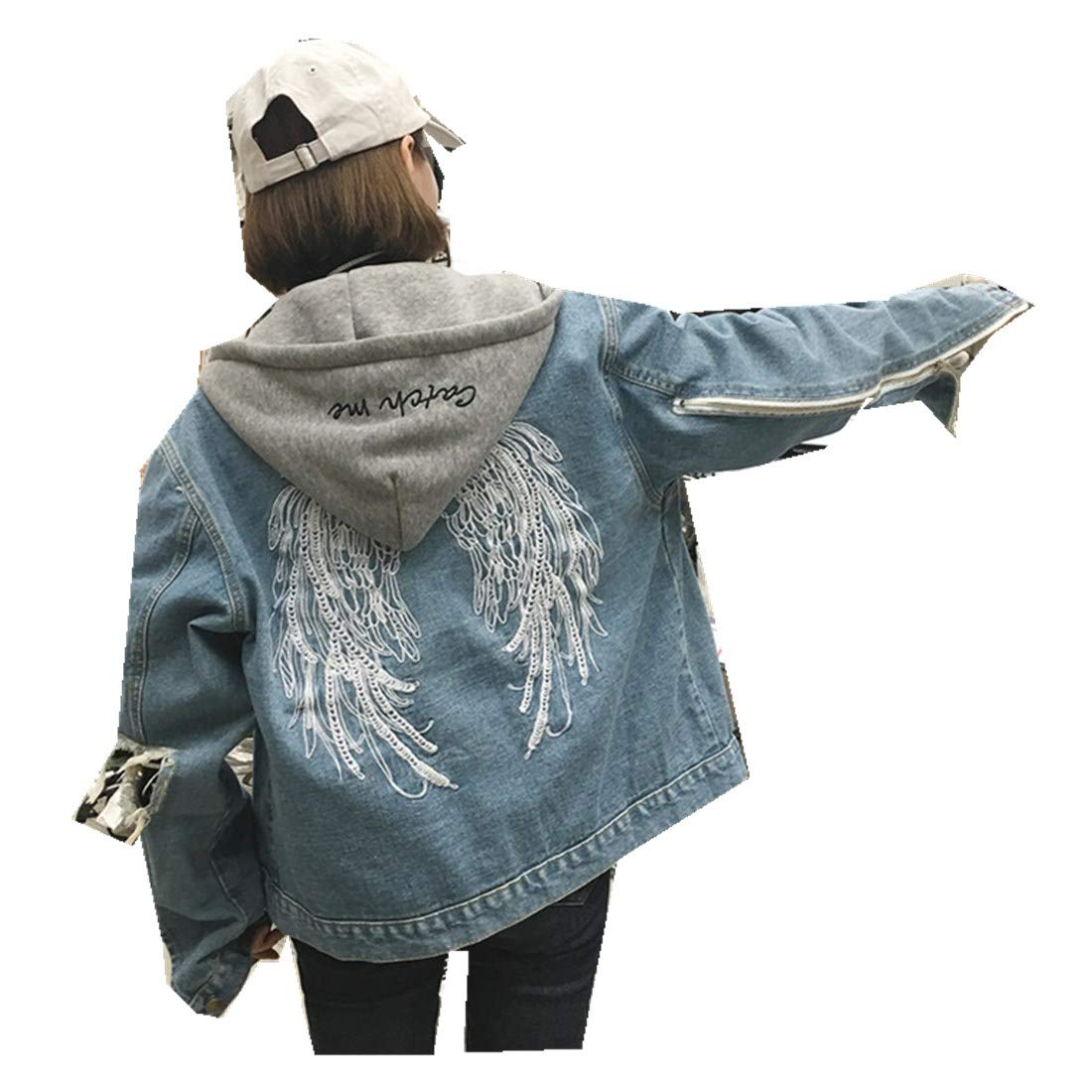 MV The Same Paragraph Embroidery Wings Denim Jacket Female Clothing