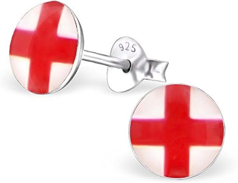 Bandera de Inglaterra – Pendientes – plata de ley – con forma redonda: Amazon.es: Joyería