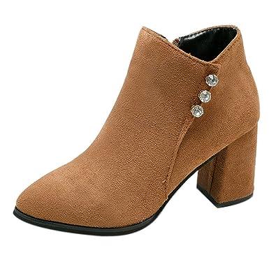 Botas Mujer Invierno, Btruely Zapatillas Deportivas de Mujer Botas Mujer otoño Invierno Botas Cortas Zapatos de tacón Alto Botas Botines Zapatos Casuales: ...