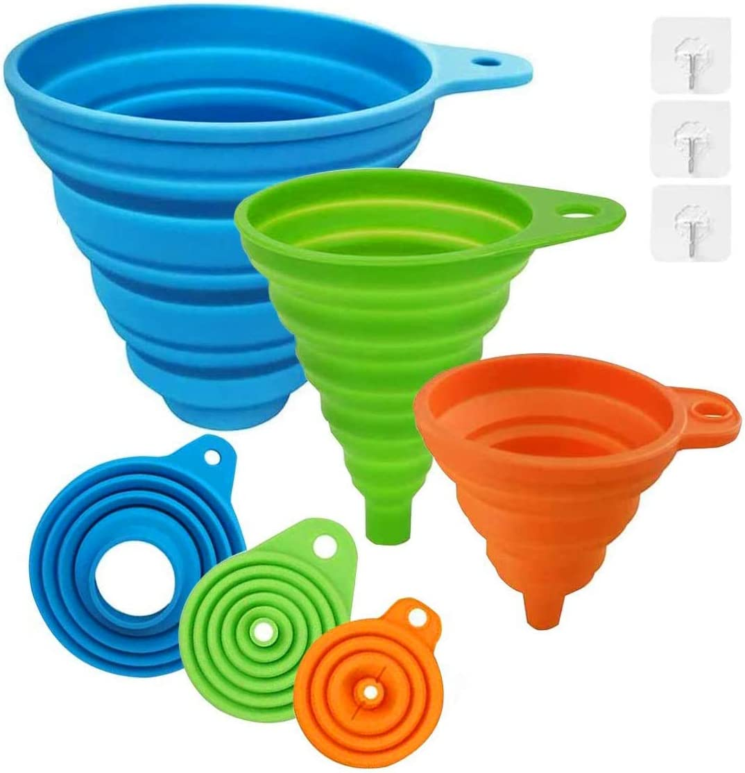 Kitchen Canning Funnel Set of 3, Large Wide Mouth Medium Small Funnel, Collapsible Silicone Funnel Food Grade for Mason Jars, Oil, Liquid, Jam, Spice and Solid Bean