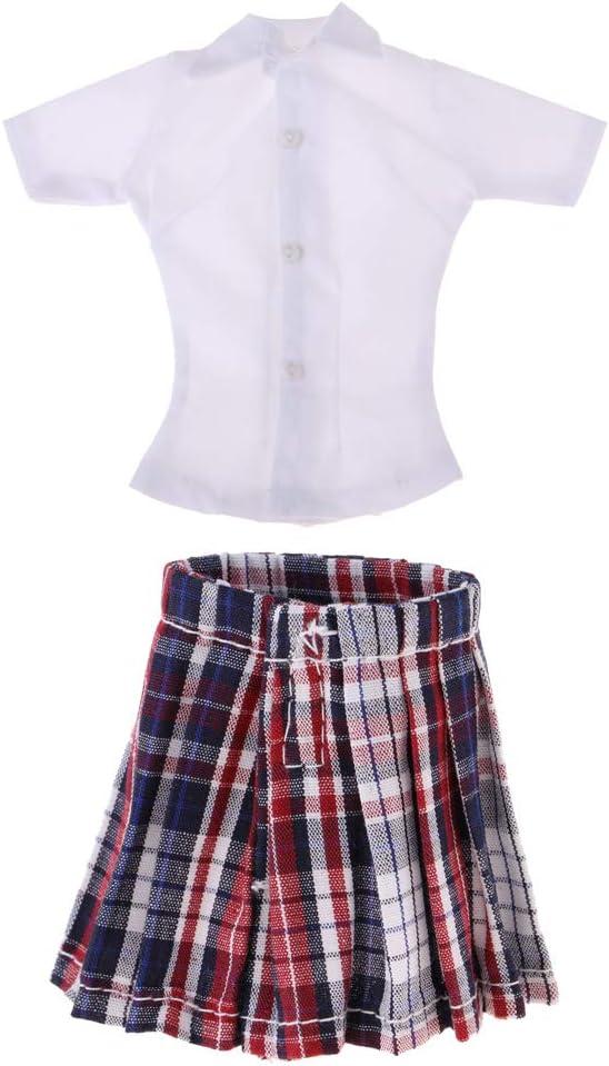non-brand 1/6 Camisa de Manga Corta Blanca y Falda de Colegiala Conjunto de Ropa para Femeninas de 12 Pulgadas: Amazon.es: Juguetes y juegos