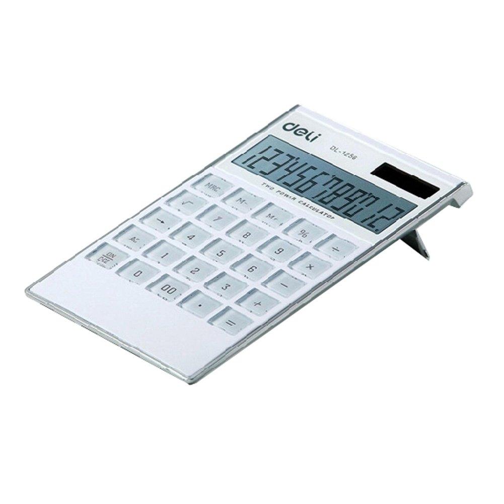 Ultrathin Dual Power 12 Digits Desktop Calculator, LCD Display, White Kylin Express