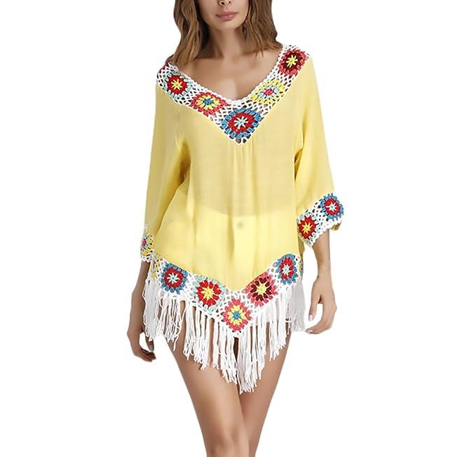 nueva llegada auténtico disfrute del envío de cortesía Mujer Camisetas Originales Verano Vintage Ganchillo Flores ...