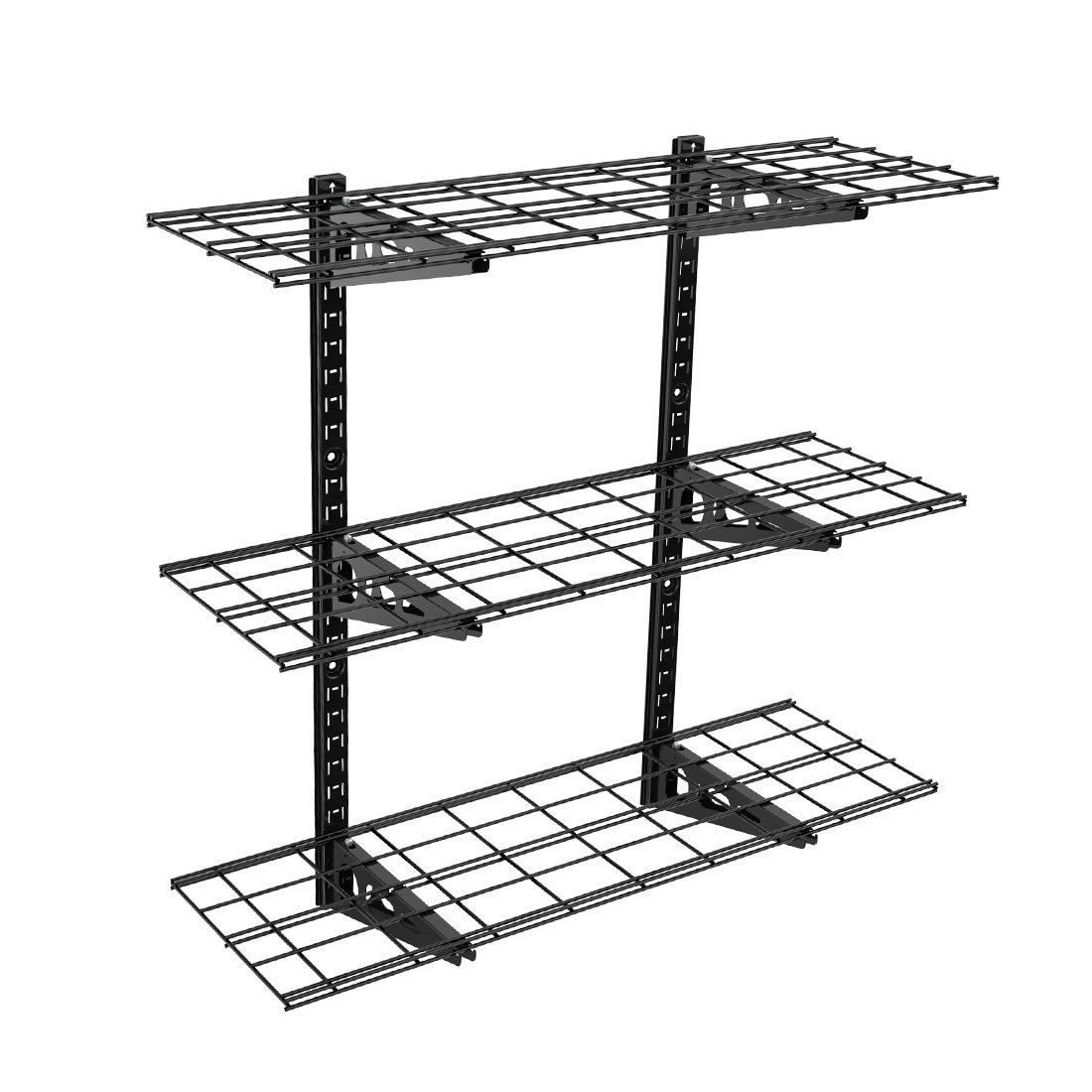FLEXIMOUNTS 3-Tier Storage Wall Shelves 1x3ft 12-inch-by-36-inch per shelf Height adjustable Floating Shelves (Black) by FLEXIMOUNTS
