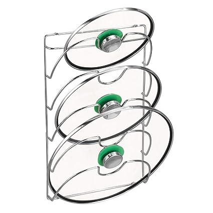 mDesign Organizador cocina – Accesorios de cocina prácticos – Si busca organizar armarios cocina este soporte para tapas de sartén es la solución – ...