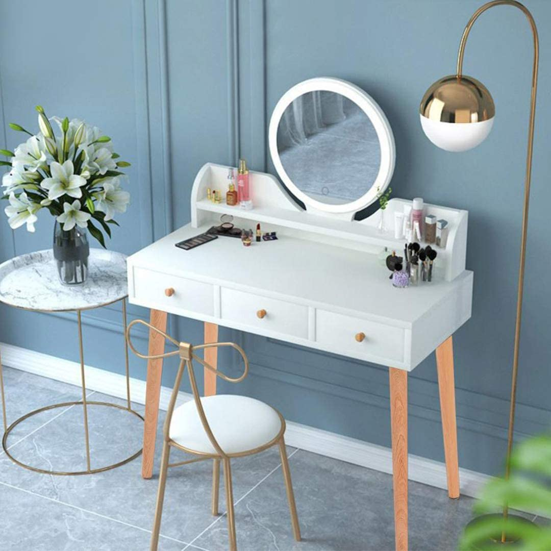 HADST Modern White Vanity Table, with Dimmable LED Lighted Mirror, Large Storage Drawers, Dressing Table Vanity Makeup Table, for Valentine's Day Bedroom Bathroom Teens Girls Women Room Decor