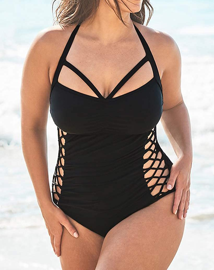 b6a1ec96424 YONYWA Women One Piece Plus Size Swimwear Sexy Cut Out Halter Monokini Bathing  Suit at Amazon Women s Clothing store
