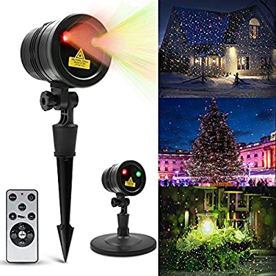 Christmas Decoration Laser Light, LED Projector Light Show Landscape Spotlight with IR Wireless Remote Control IP65 Waterproof for Indoor Outdoor House, Garden, Patio, Holiday, Party Decor