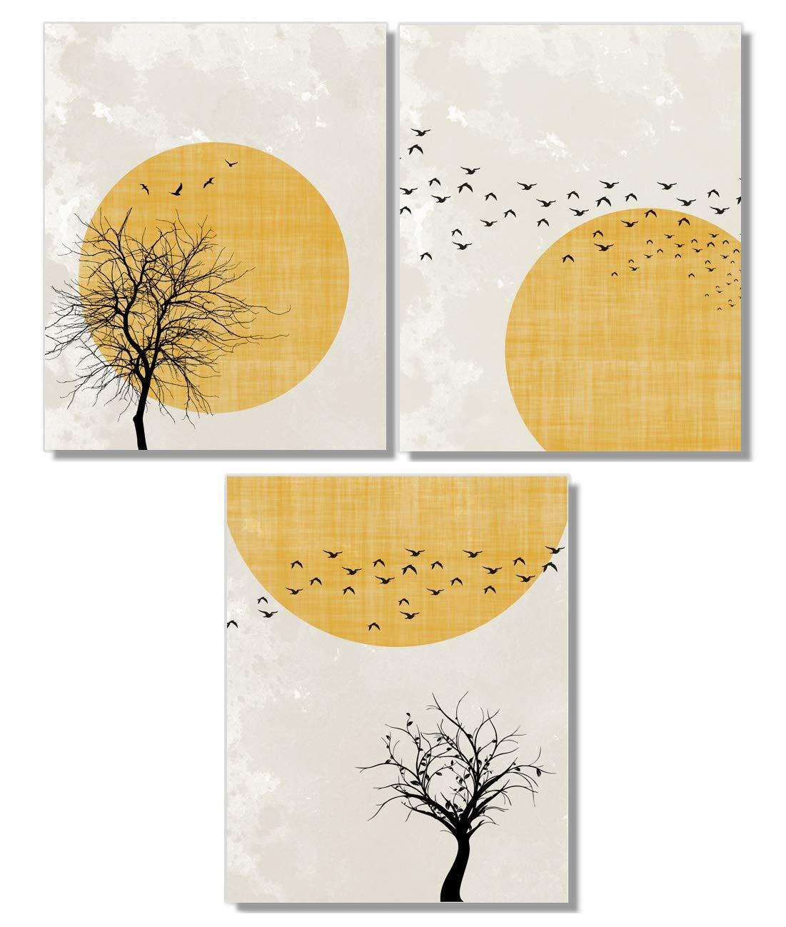 Minimalist Art Nordic Design Gallery Wall Artwork Modern Kitchen Wall Scandinavian Tree Wall Art Set Yellow Wall Art Print Print Pack