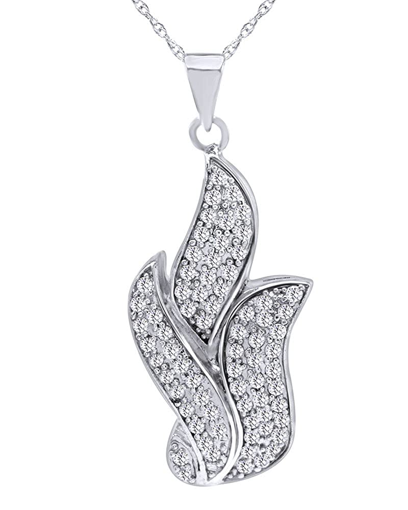 Wishrocks Round Cut White Cubic Zirconia Leaf Pendant Necklace in Sterling Silver