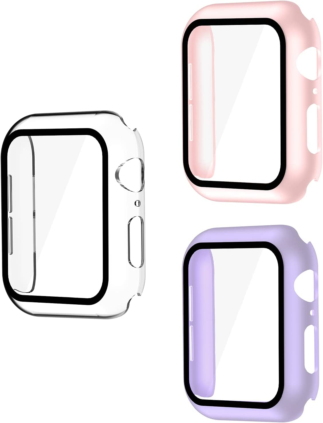 Smiling 3 Pack Case Compatible with Apple Watch Series 6/SE/Series 5/Series 4 40mm with Built in Tempered Glass Screen Protector- All Around Hard PC Case Overall Protective Cover(Clear/Pink/Purple)
