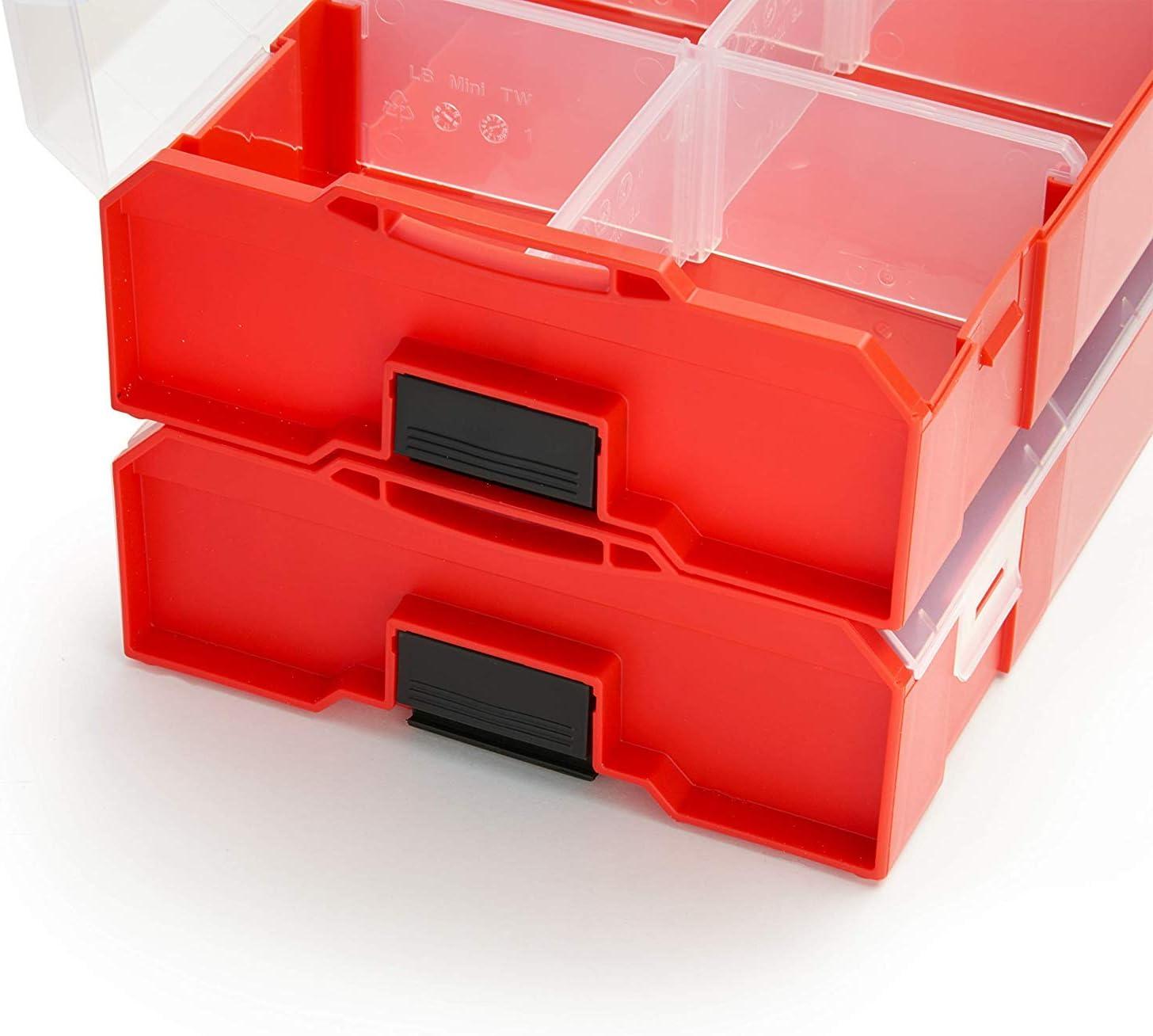 Cada 2 Gris Azul Rojo Caja de Almacenaje Tornillos con Tapa Bosch Sortimo L Boxx Mini Tornillos Clasificaci/ón Juego de 6 Surtido de Colores
