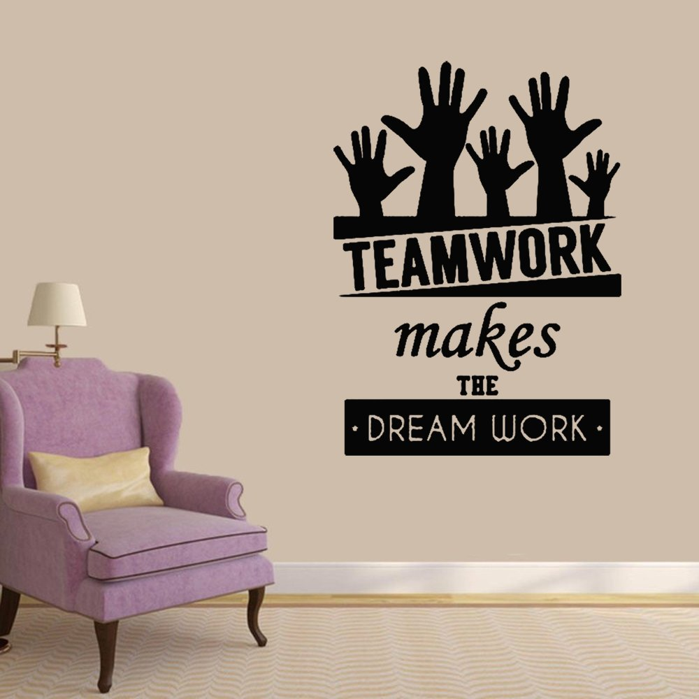 Stickers Vinyl Wall Art Decals Letters Quotes Decoration Teamwork Makes The Dream Work for Studyroom