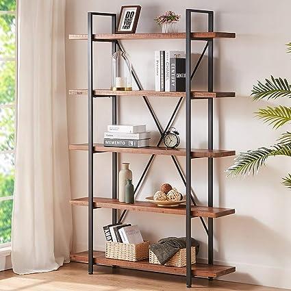 Estantería de madera maciza HSH, 2 3 4 5 estantes rústico vintage industrial Etagere, estante para libros de granja de metal abierto, color marrón ...