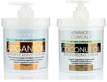 Advanced Clinicals Coconut Oil Cream and Argan Oil Cream Set  Value  skincare set contains