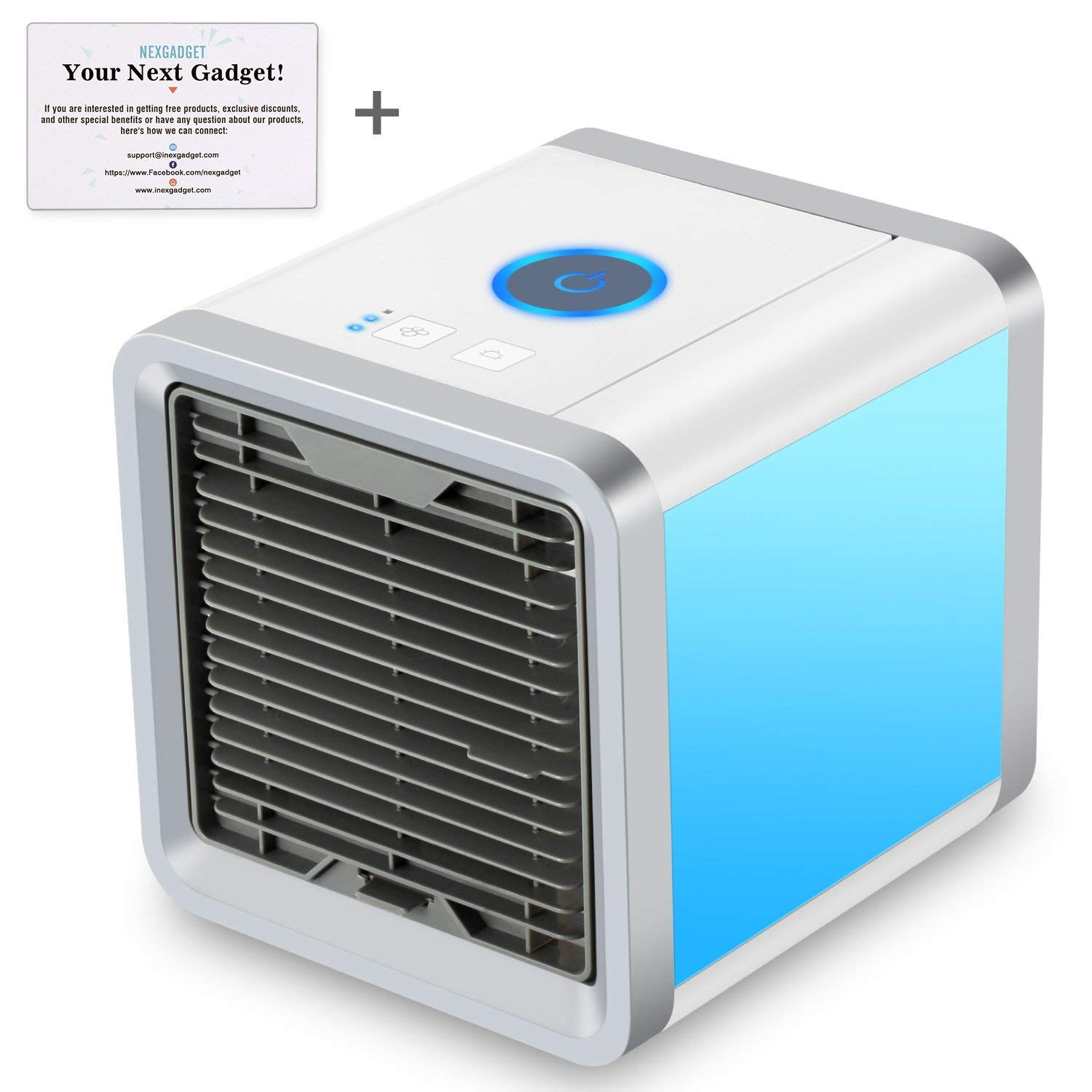 NEXGADGET Air Cool Portable Mini Desk Cooler, 3 in 1 Personal Space Air Cooler, Humidifier and Purifier, Desktop Air Conditioner Fan with 3 Speeds and 7 Colors LED Night Light