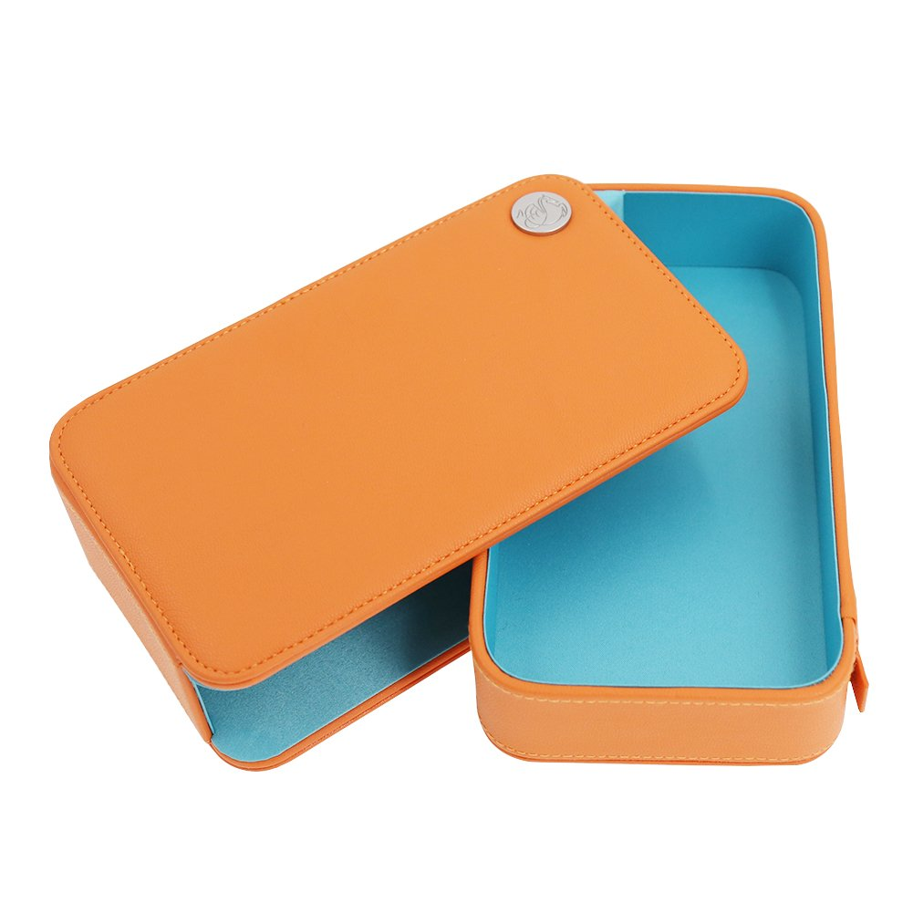 Makeup case Orange PU Leather Mini Drawer Makeup Train Case for Girl Women