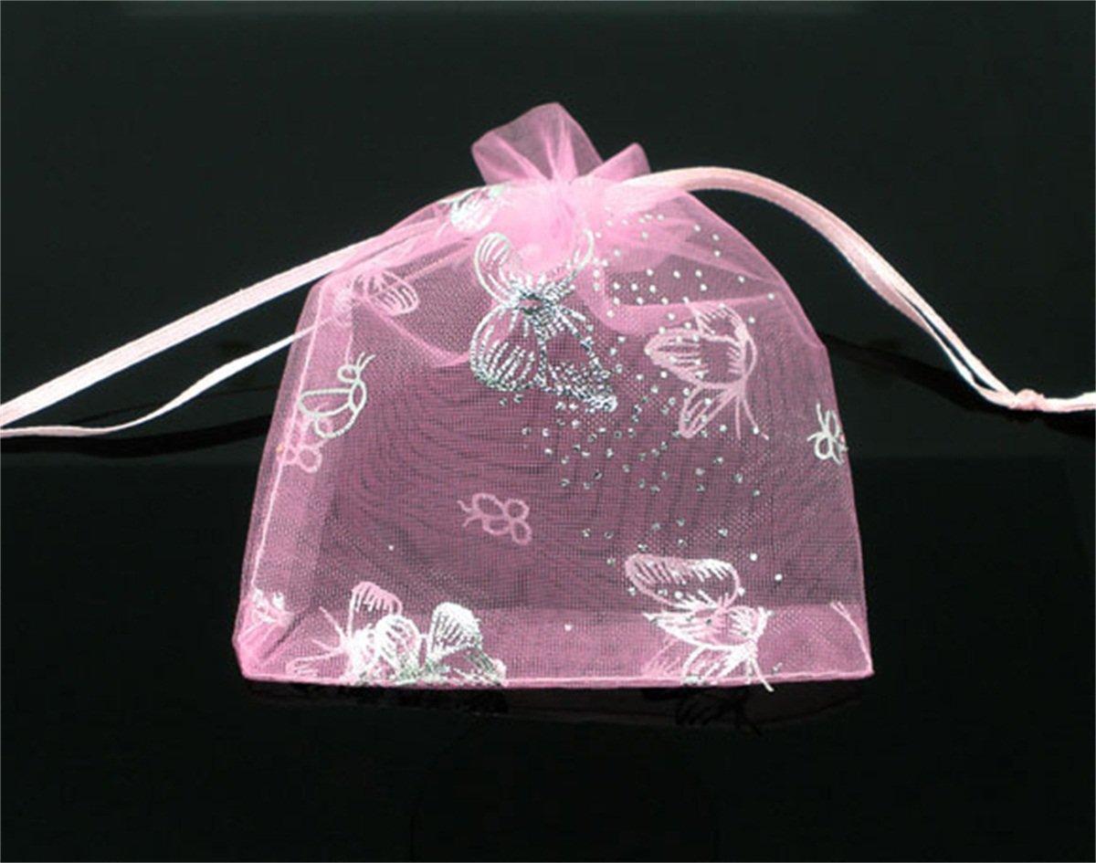 Amazon.com: 7 cm x9 cm Rosa Little mariposa joyas de organza ...