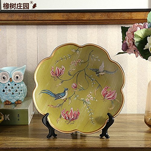 (QARYYQ American Country Hand-Painted Flowers and Birds Decorative Plate Decoration Home Living Room Furniture, Embroidery Plate, Banquet Plate Crafts (Color : Light Green))