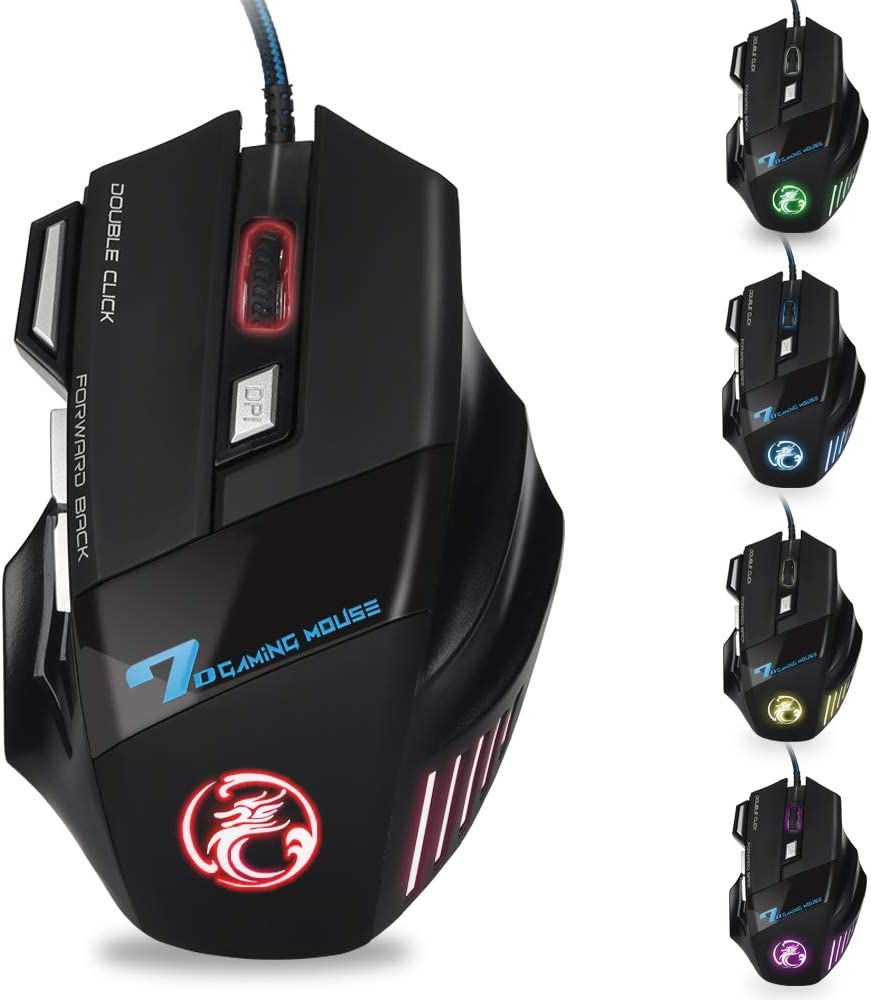 Gaming Mouse Wired - 7200 DPI, Upstone 7 Colors LED Backlight Computer Gaming Mice with 7 Buttons, 4 Adjustable DPI, Ergonomic Optical Mouse Wired for Computer/PC/Laptop/Mac - Black