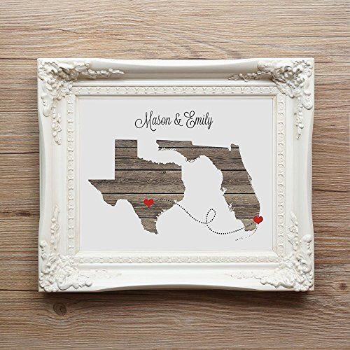 Any Two States Love Wedding Gift - Unframed - Personalized State Natural Series Custom Location Modern Art Print Long Distance Map Art Engagement Bridal Shower Gift -