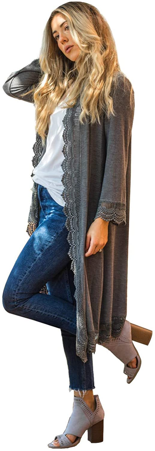 Tickled Teal Women's 3/4 Sleeve Lace Trim Casual Wrap Cardigan Coverup Outerwear Sweater