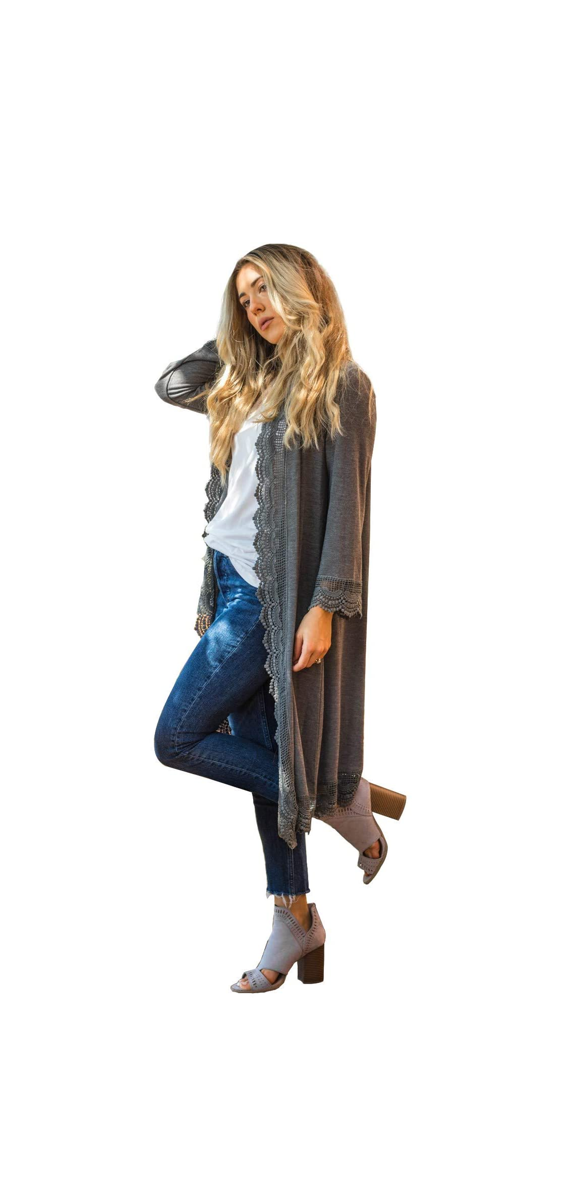 Women's / Sleeve Lace Trim Casual Wrap Cardigan