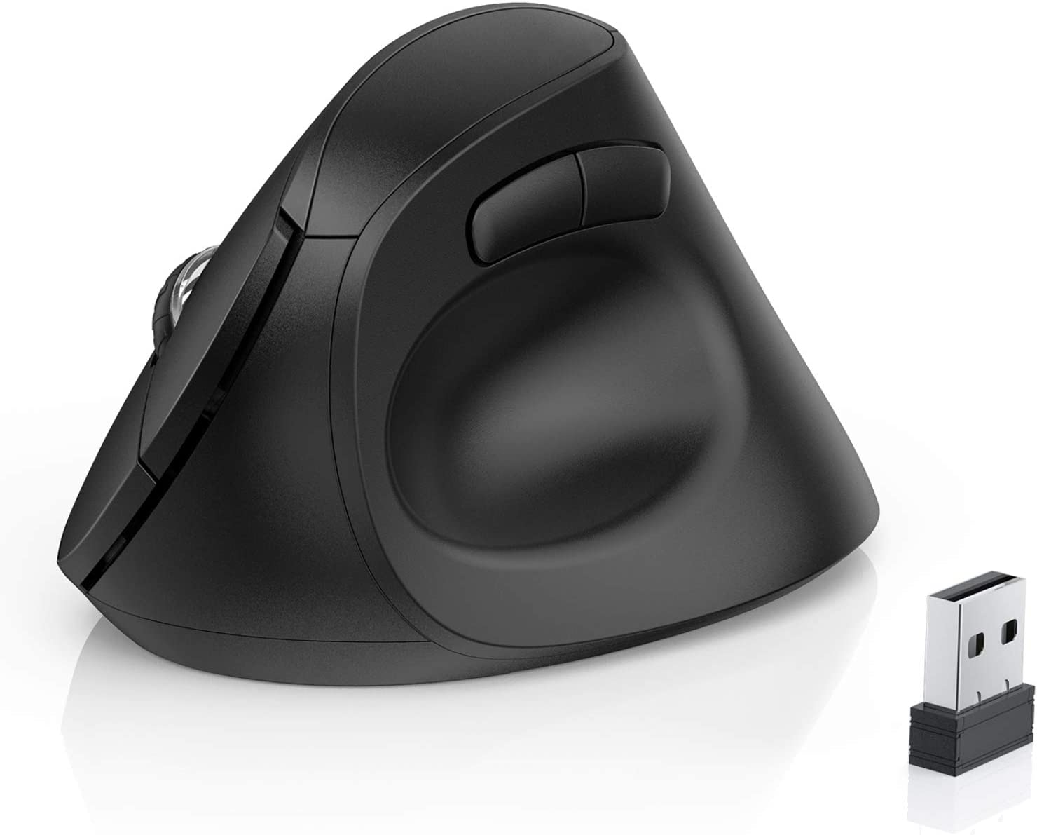 OMOTON Ergonomic Mouse, 2.4G Wireless Bluetooth Vertical Mouse with Adjustable DPI 800/ 1600/ 2400 and 6 Buttons for Laptop, Desktop, PC, MacBook and More, Black