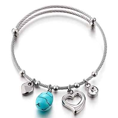 COOLSTEELANDBEYOND Stainless Steel Charm Bracelet for Women Girls with Steel Bead String and Cubic Zirconia, Adjustable