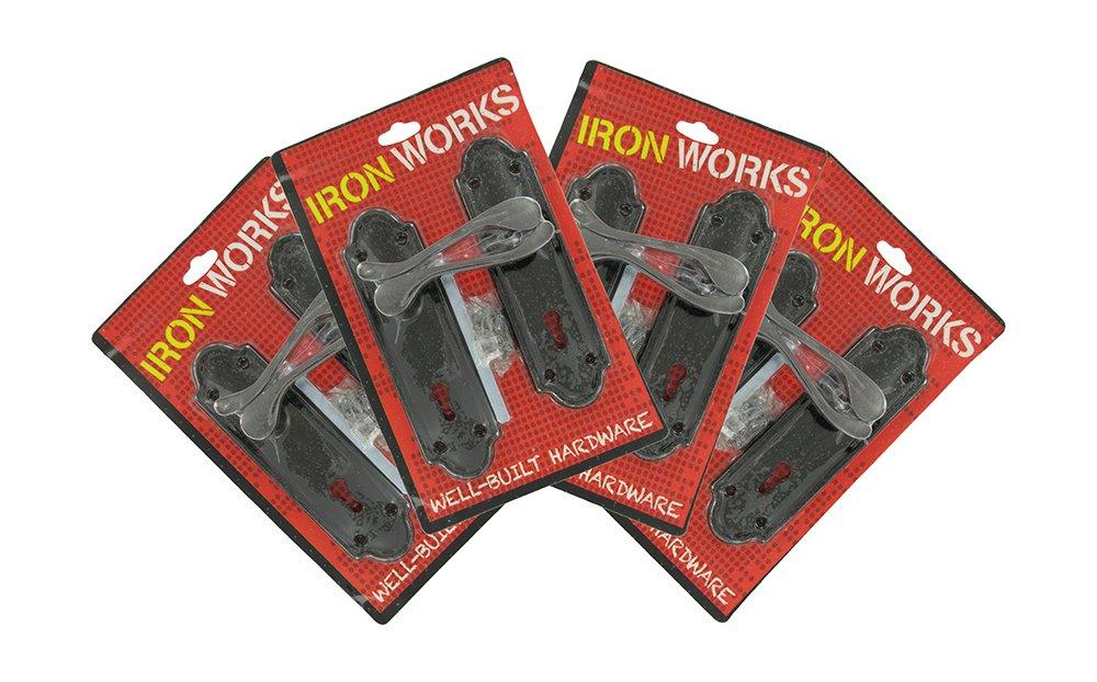 IRON WORKS 0194 6-Inch Black Nickel Finish Ashford Style Lock Door Handles (4 Pair)