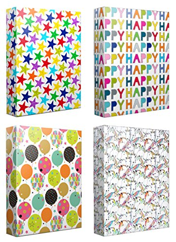 Bright Variety Celebration Holographic Foil Set of 4 Gift Wrap Set By Design Design