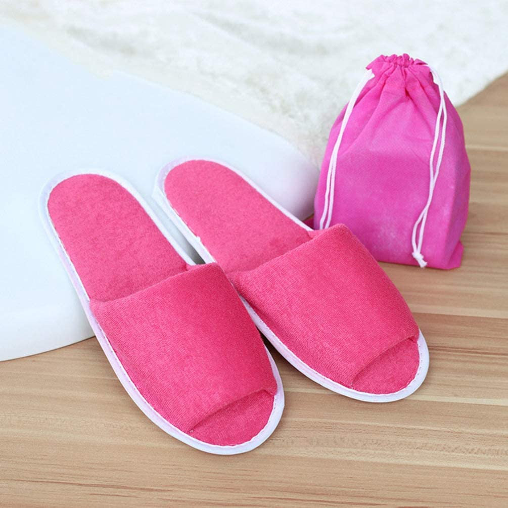 SUPVOX 4 Pairs of Disposable Slides Portable Soft Male Slippers Folding for Hotel Travel Bathroom Grey