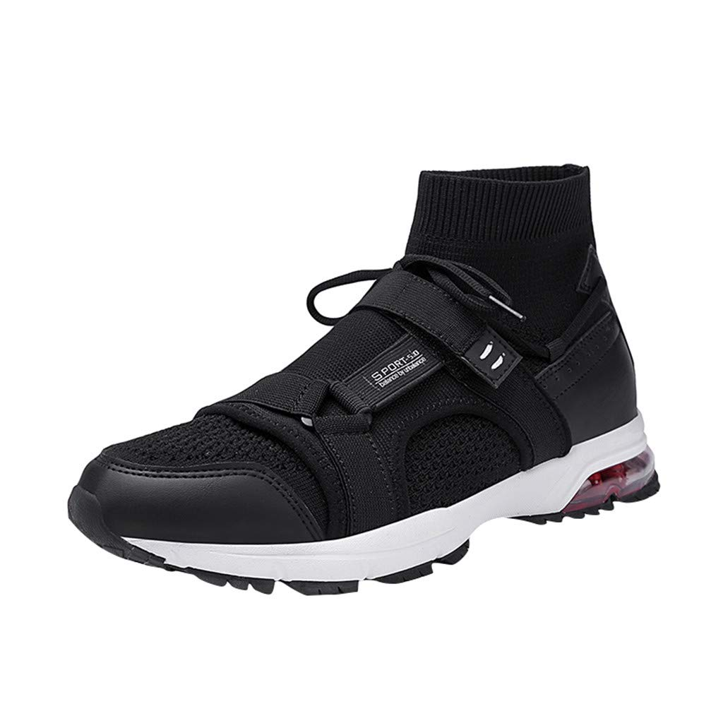 Street Sneakers Men Work Sneakers ✔ Men's Summer Fly Knit Breathable Sneakers Trend Soft Bottom Casual Socks Shoes Black