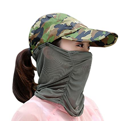 15aa1614c6976 Summer Quick Dry Folding Wide Brim Sun Hat Anti UV Face Sun Protection  Shield Mask Head