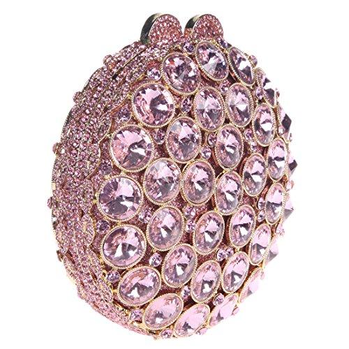 Bonjanvye Round Clutch Crystal Pink Studded Womens Handbag Bag For With Rhinestone dCoQsrxBth