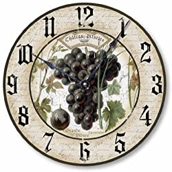 Item C1230 Vintage Style 10.5 Inch Wine Grapes Clock