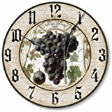 wine and grape kitchen clock - Item C1230 Vintage Style 10.5 Inch Wine Grapes Clock