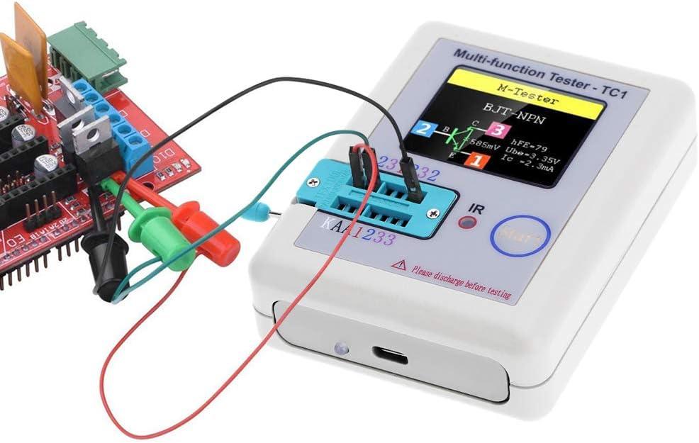 LCR-TC1 Comprobador de transistor TFT Diodo Triodo Capacitancia Meters ESR NPN PNP MOSFET Pantalla Multifuncional TFT Retroiluminaci/ón Transistor Tester