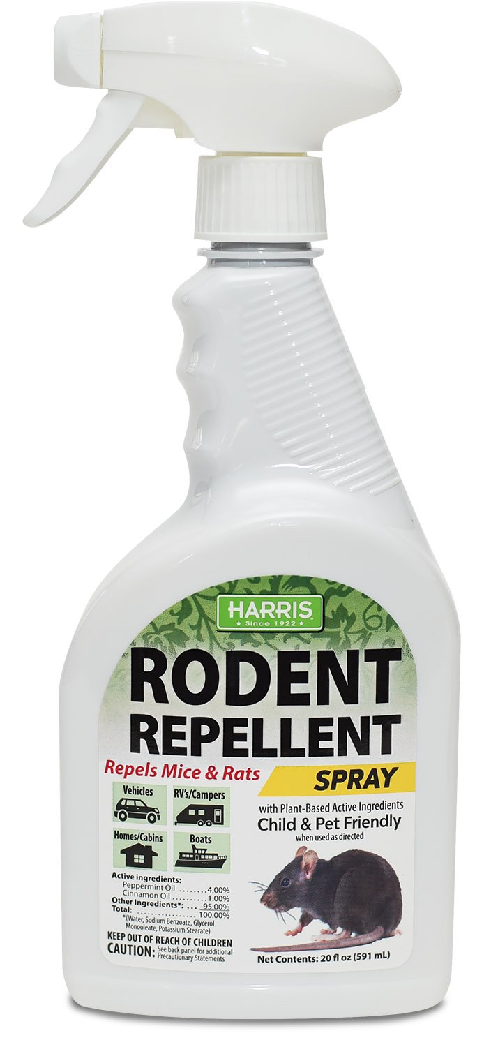 Harris Mice Repellent Spray, Organic Humane Mouse Trap Substitute, 20oz Peppermint and Cinnamon Oil Based Formula for Rodents