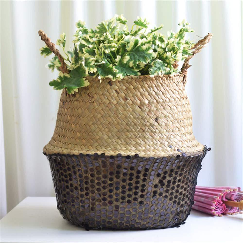 Seagrass Wicker Flower Basket Wall Hanging Sequin Handwoven Basket Folding Plant Pot Outdoor Indoor Decoration for Indoor Home Garden Wedding (Black)