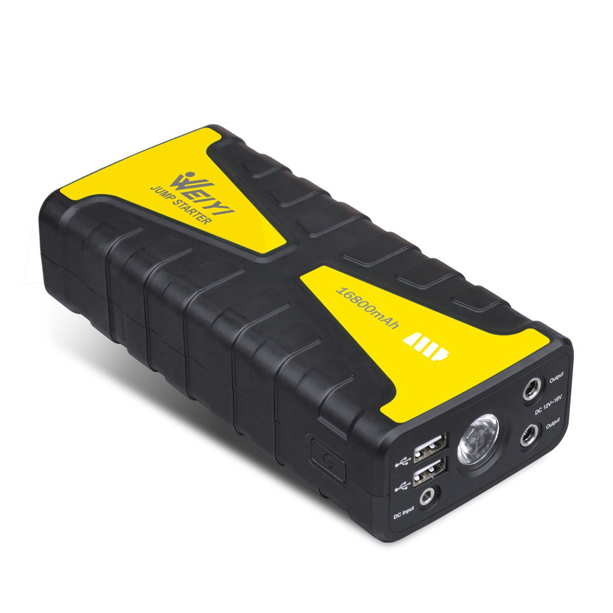 Weiyi 800A Peak Current 16800mAh Portable Car Jump Starter With Bright LED Light & SOS & And External High Rate Multivariate Battery Charger With 2 USB Ports