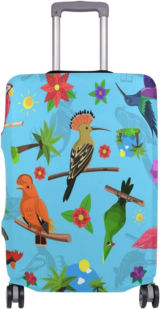 Travel Luggage Cover Colorful Birds Rest Flamingo Branch Suitcase Protector