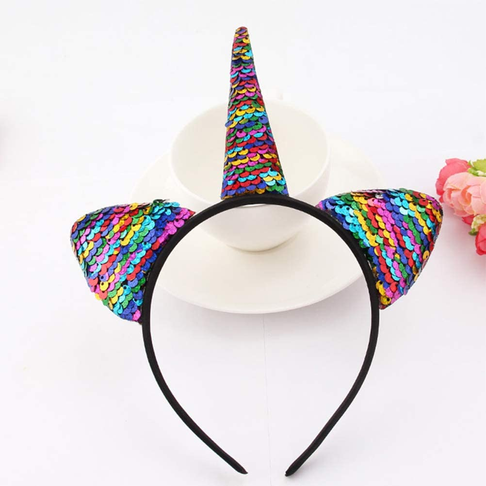 Glitter Unicorn Hairband Rainbow Unicorn Cat Ears Kid Party Cartoon Headband New