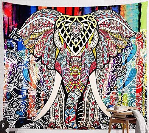 BeGrit Wandbehang Elephant Tapestry Mandala Wandteppich Hippie Böhmische Wandteppiche Psychedelischer Pfau-Boho-Wandteppich für Schlafzimmer 150cm * 200cm