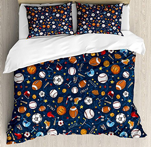 - Sport 4 Piece Bedding Set Duvet Cover Set Full Size, Many Basketball Baseball and Football Icons Champ Gloves Dark Background, Luxury Bed Sheet for Childrens/Kids/Teens/Adults, Dark Blue Multicolor