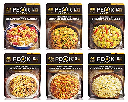 Peak Refuel Variety Meal Kit | Pack of 6 | 12 Total Servings | Freeze Dried Backpacking and Camping Food | Amazing Taste | Quick Prep