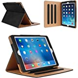 iPad 2 Case,iPad 3 Case,iPad 4 Case - Leather Stand Folio Case Cover for Apple iPad 2/3/4 Case with Multiple Viewing Angles, Document Card Pocket(Black)